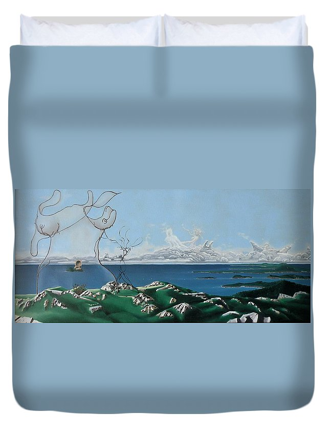Landscape Duvet Cover featuring the painting Feminine Landscape by Dave Martsolf
