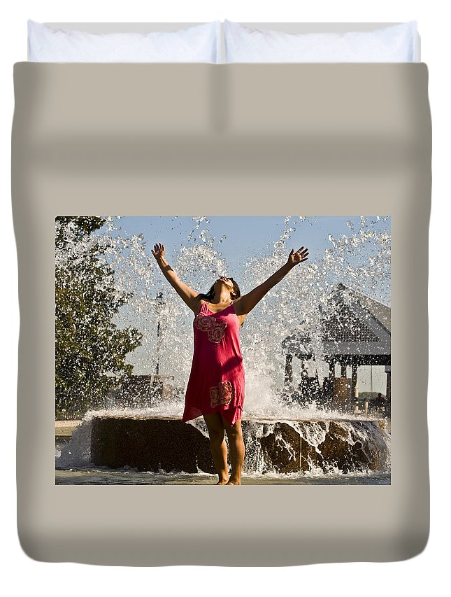 Femme Duvet Cover featuring the photograph Femme Fountain by Al Powell Photography USA
