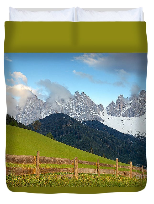 Dolomite Mountains Duvet Cover featuring the photograph Fence At Val Di Funne by Daryl L Hunter