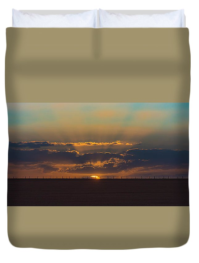 Fence Duvet Cover featuring the photograph Fence Line by Lynton Brown