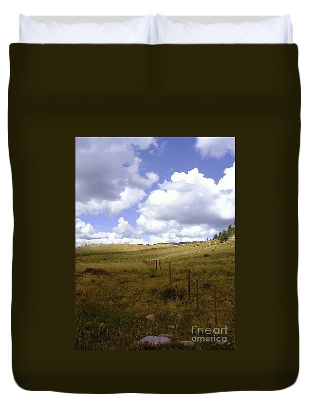 Scenery Duvet Cover featuring the photograph Fence Line by Mary Rogers