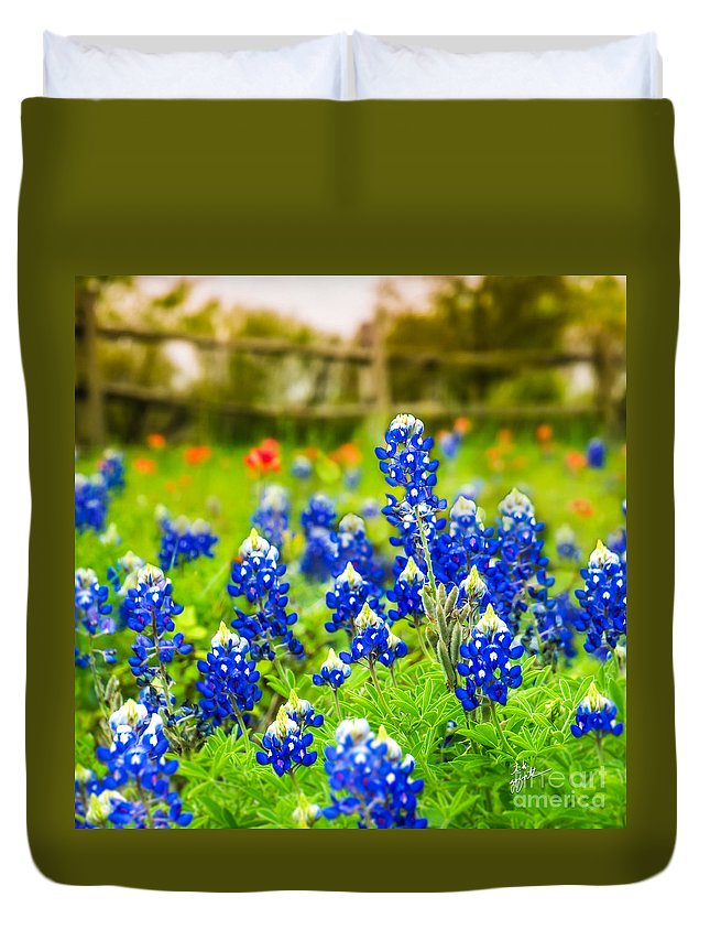 Indian Paintbrush Duvet Cover featuring the photograph Fence Me In With Flowers Squared by TK Goforth