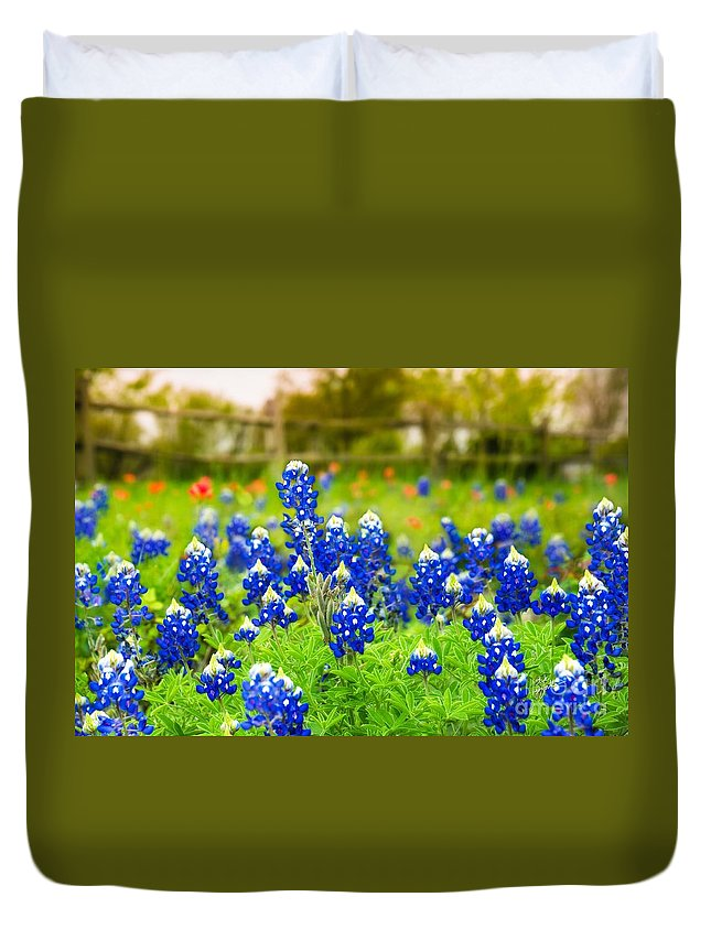 Indian Paintbrush Duvet Cover featuring the photograph Fence Me In With Flowers by TK Goforth