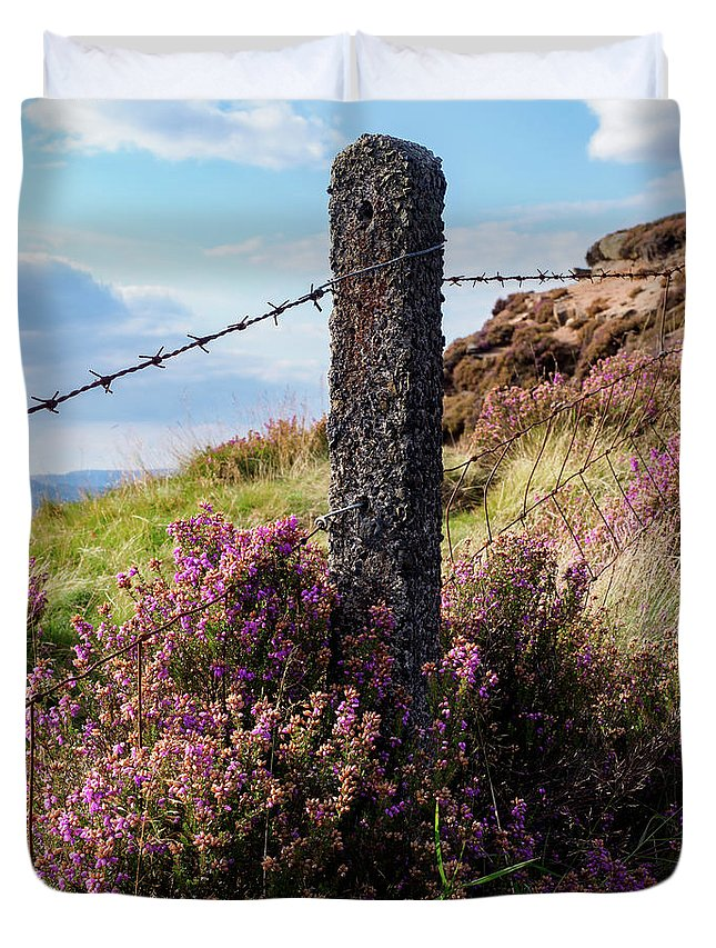 Fence Post Duvet Cover featuring the photograph Fence Post In The Peak District by Tim Clark