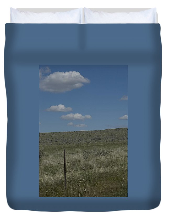 Fenced Duvet Cover featuring the photograph Fenced Clouds by Sara Stevenson