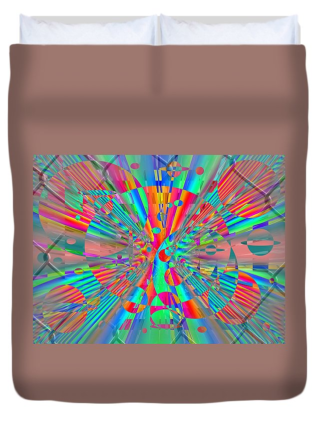 Fence Duvet Cover featuring the digital art Fenced In No More 2 by Tim Allen