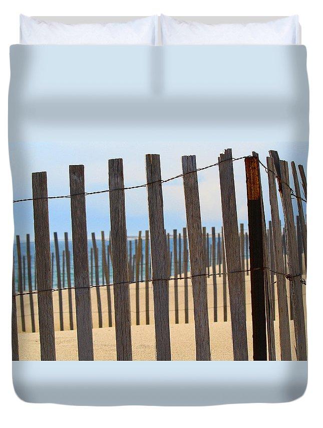 Beach Duvet Cover featuring the photograph Fenced Off Beach by Deborah Napelitano