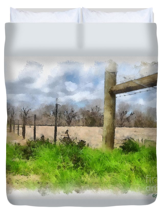 Fenceline Duvet Cover featuring the painting Fenceline by Paulette B Wright