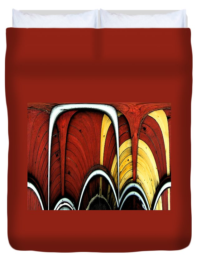Abstract Duvet Cover featuring the digital art Fences by Lenore Senior