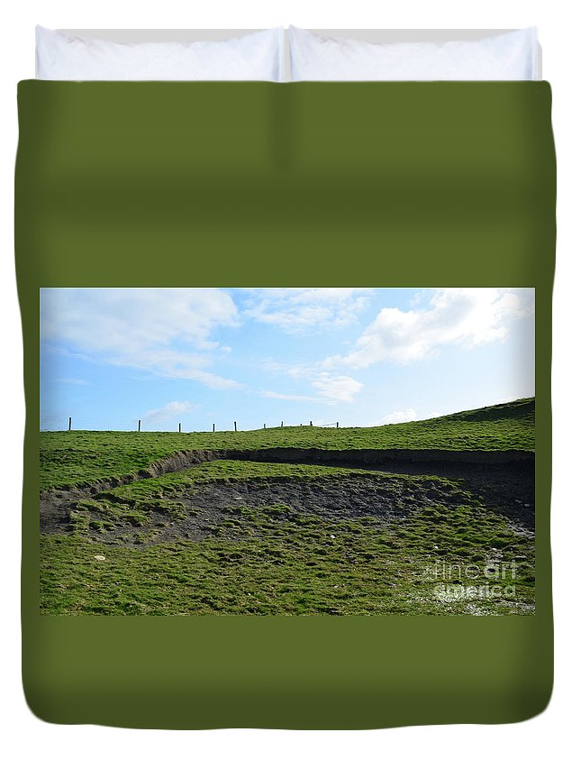 Fields Duvet Cover featuring the photograph Fencing Along A Field Above The Cliff's Of Moher by DejaVu Designs