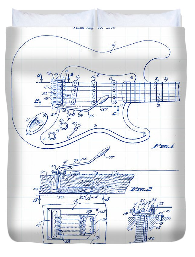 Antique Duvet Cover featuring the painting Fender Guitar Patent Drawing by Gary Grayson
