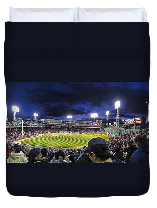 Crowd Duvet Cover featuring the photograph Fenway Night by Rick Berk