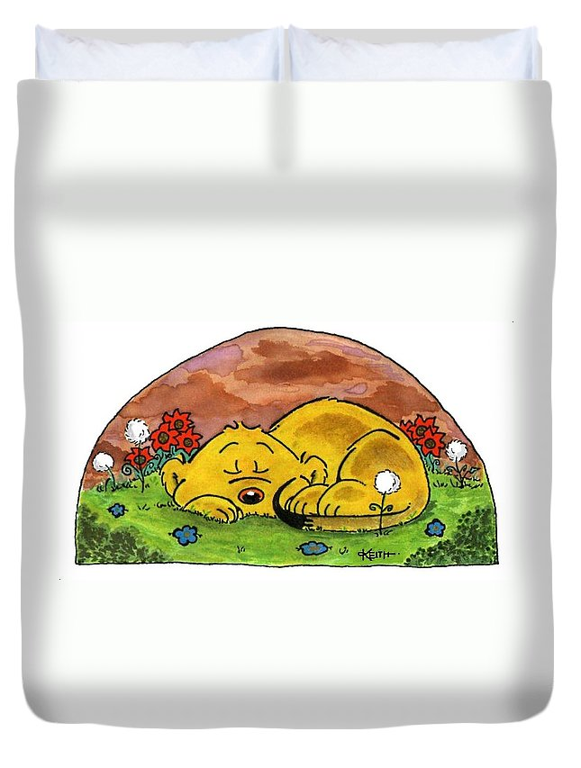 Ferald Duvet Cover featuring the painting Ferald Sleeping by Keith Williams