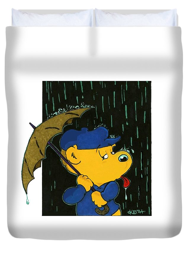 Ferald Duvet Cover featuring the painting Ferald's Taste Of Rain by Keith Williams