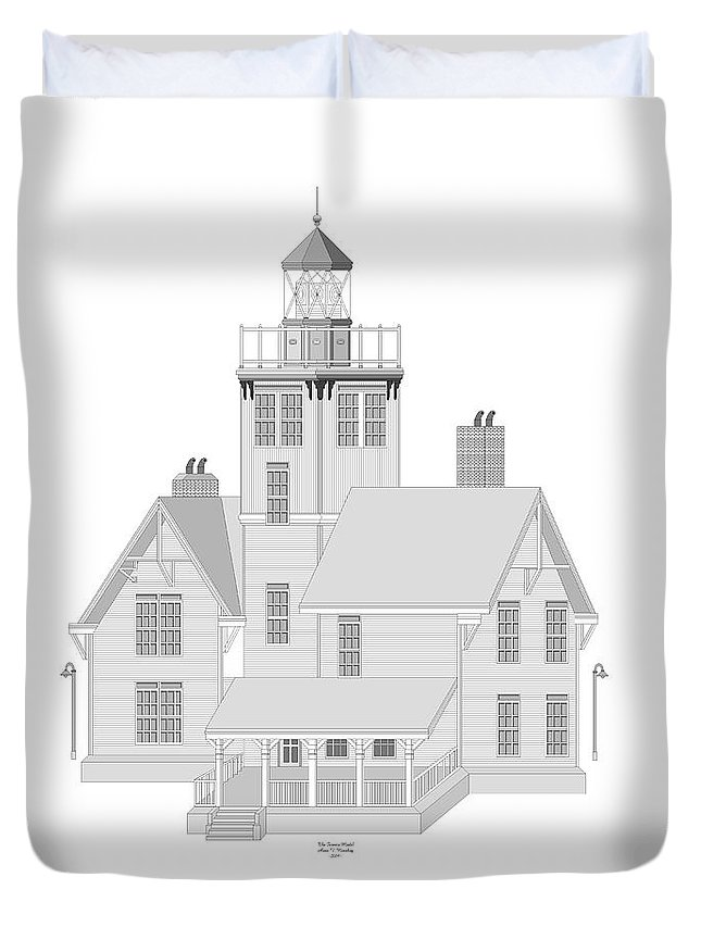 Lighthouse Duvet Cover featuring the painting Fermin Model Architectural Drawing by Anne Norskog