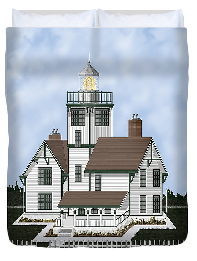 Lighthouse Duvet Cover featuring the painting Fermin Model Landscaped by Anne Norskog