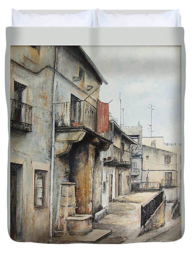 Fermoselle Zamora Spain Oil Painting City Scapes Urban Art Duvet Cover featuring the painting Fermoselle by Tomas Castano