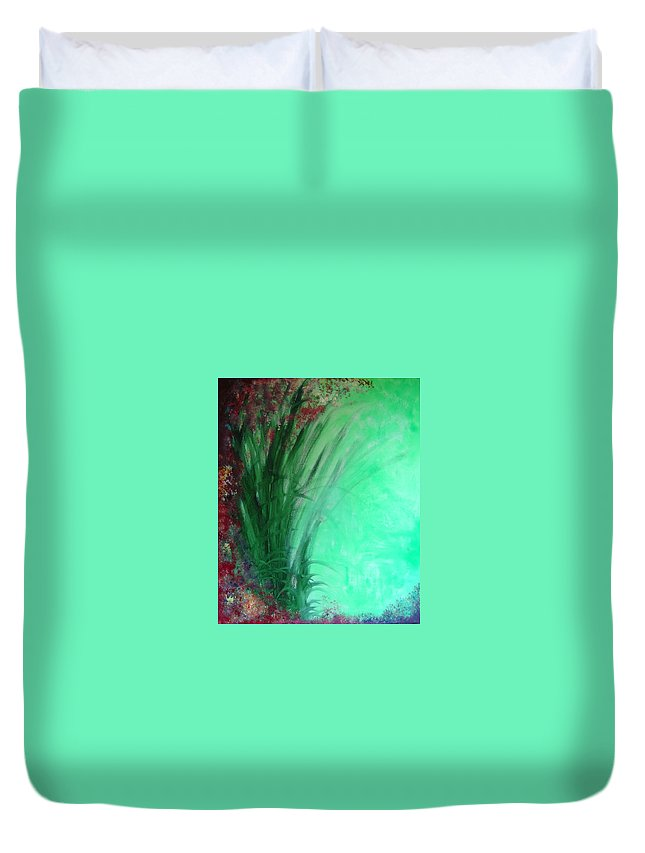 Green Ferns Duvet Cover featuring the painting Ferns by Lizzy Forrester