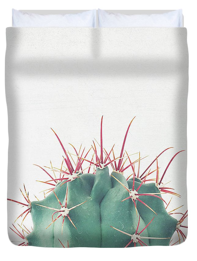 Cactus Duvet Cover featuring the photograph Ferocactus by Cassia Beck
