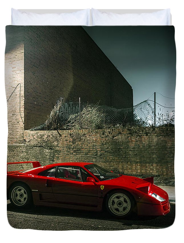 Ferrari Duvet Cover featuring the photograph Ferrari F40 Lurking by George Williams