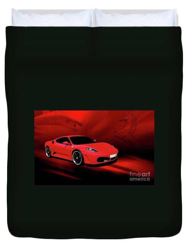 Ferrari Duvet Cover featuring the photograph Ferrari F430 by Joel Witmeyer