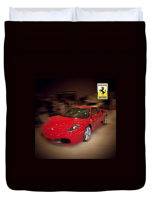 �auto Corner� Collection By Serge Averbukh Duvet Cover featuring the photograph Ferrari F430 - The Red Beast by Serge Averbukh