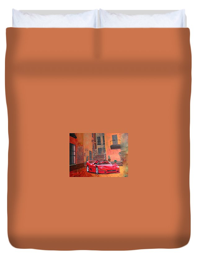 Ferrari Duvet Cover featuring the painting Ferrari F50 by Richard Le Page