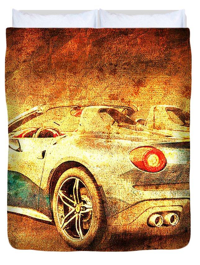 Ferrari F60 America Duvet Cover featuring the drawing Ferrari F60 America, Golden Poster, Birthday Gift For Men by Drawspots Illustrations