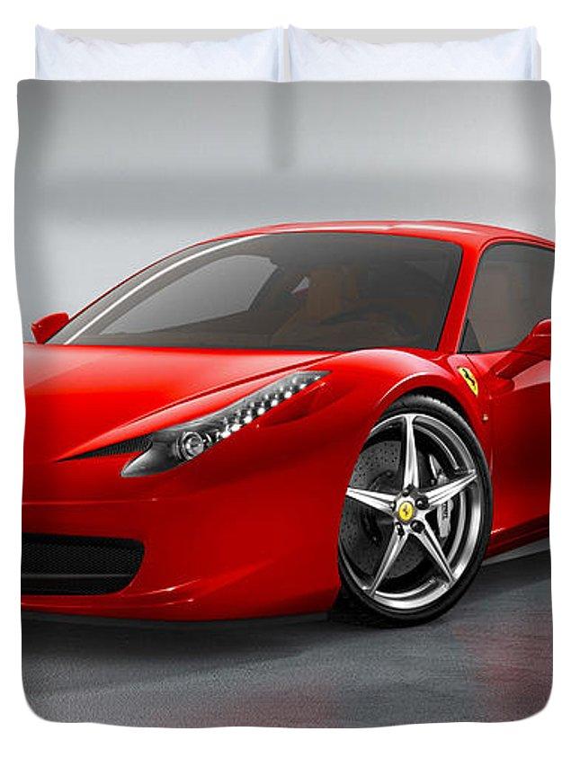 Ferrari Duvet Cover featuring the photograph Ferrari Italia by Garland Johnson
