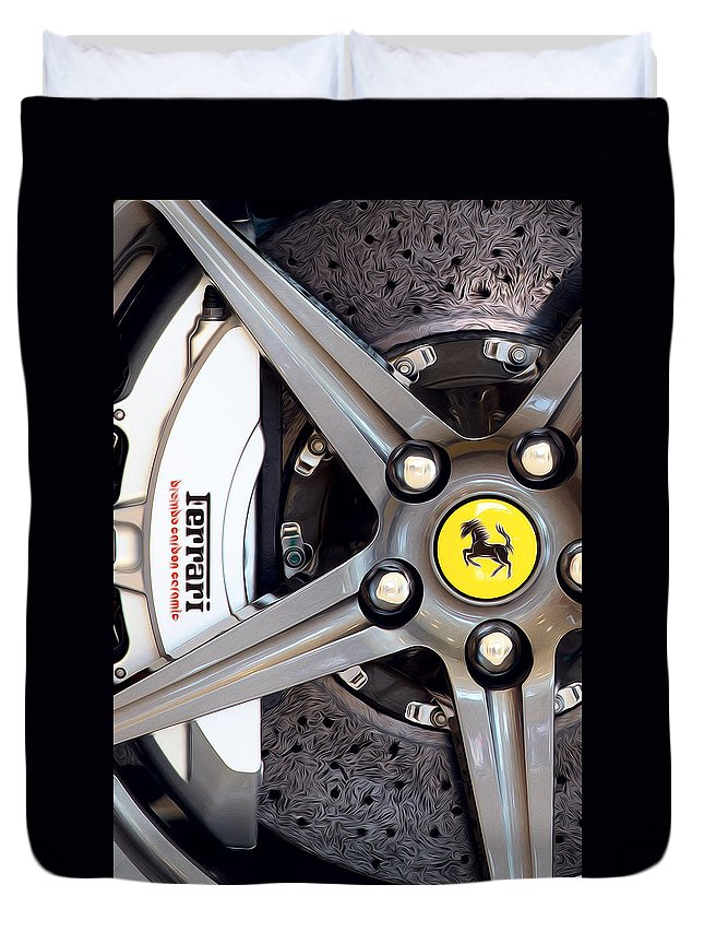 Ferrari Duvet Cover featuring the photograph Ferrari Wheel Op 121915 by Rospotte Photography