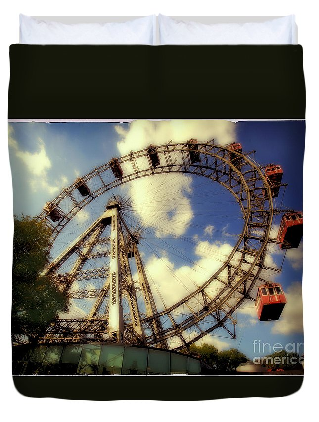 Ferris Wheel Duvet Cover featuring the photograph Ferris Wheel At The Prater by Madeline Ellis
