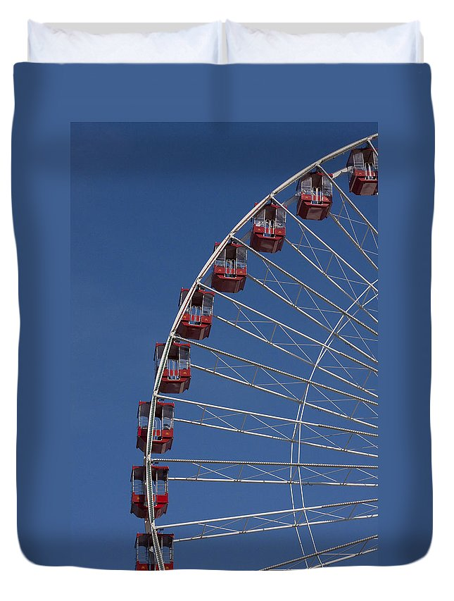 Chicago Navy Pier Windy City Ferris Wheel Attraction Blue Sky Red Tourist Tourism Travel Duvet Cover featuring the photograph Ferris Wheel II by Andrei Shliakhau