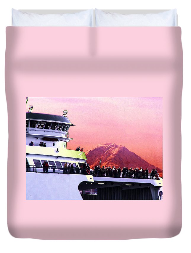 Seattle Duvet Cover featuring the digital art Ferry And Da Mountain by Tim Allen