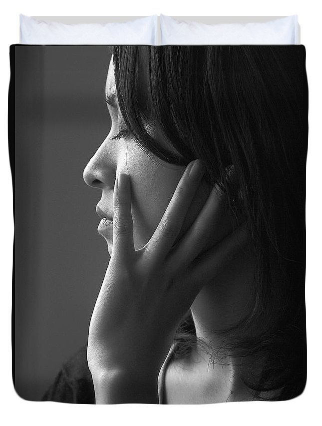 Woman Girl Candid Monochrome Hand Duvet Cover featuring the photograph Ferry Girl by Sheila Smart Fine Art Photography