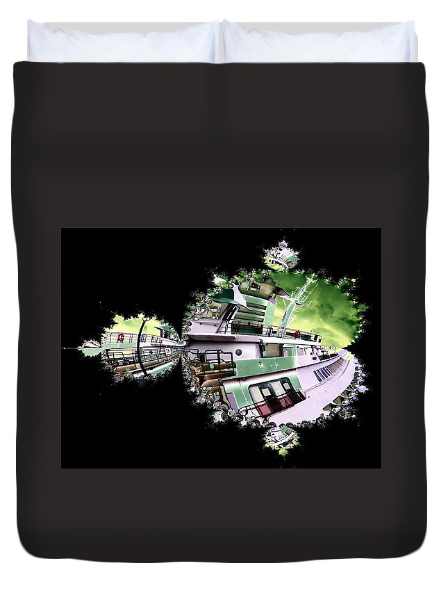 Seattle Duvet Cover featuring the digital art Ferry In Fractal by Tim Allen
