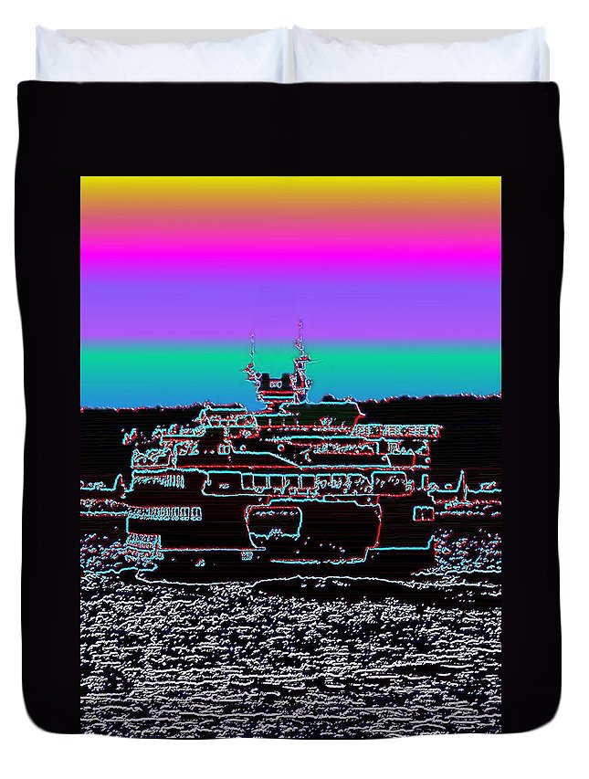 Seattle Duvet Cover featuring the photograph Ferry On Elliott Bay 4 by Tim Allen