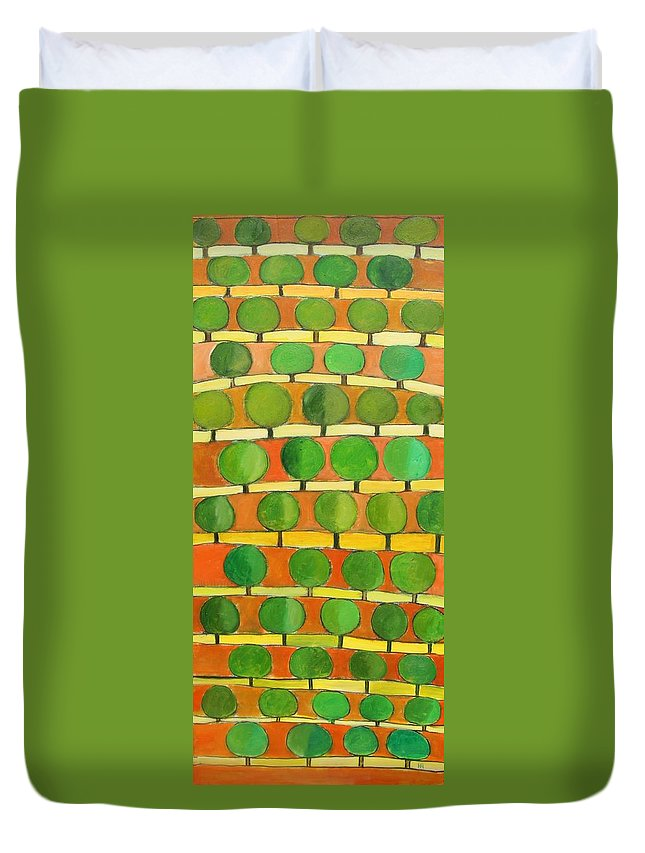 Abstract Duvet Cover featuring the painting Fertile Soil by Habib Ayat