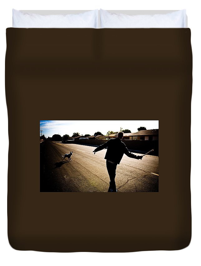 Fetch Duvet Cover featuring the photograph Fetch by Scott Sawyer