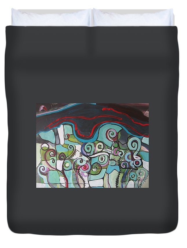 Fiddleheads Paintings Duvet Cover featuring the painting Fiddleheads 5 by Seon-Jeong Kim