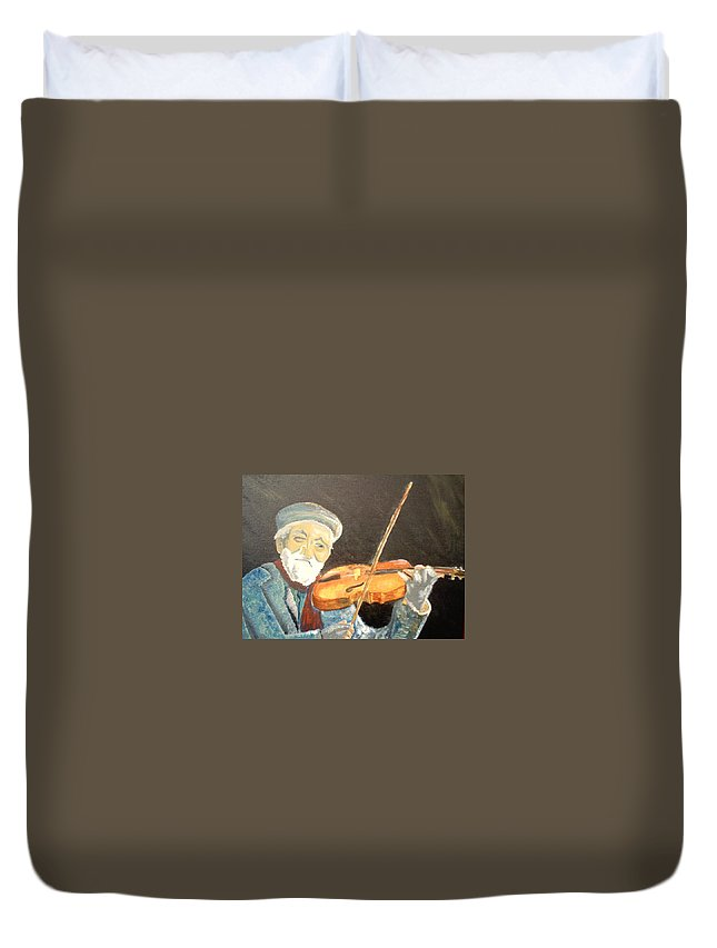 Hungry He Plays For His Supper Duvet Cover featuring the painting Fiddler Blue by J Bauer