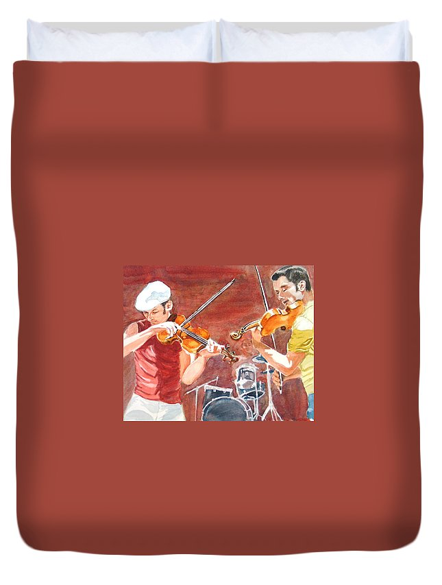 Musicians Duvet Cover featuring the painting Fiddles by Karen Ilari