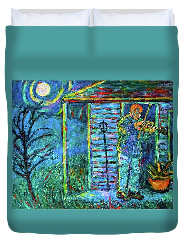 Fiddler Duvet Cover featuring the painting Fiddling at Midnight's Farm House by Kendall Kessler