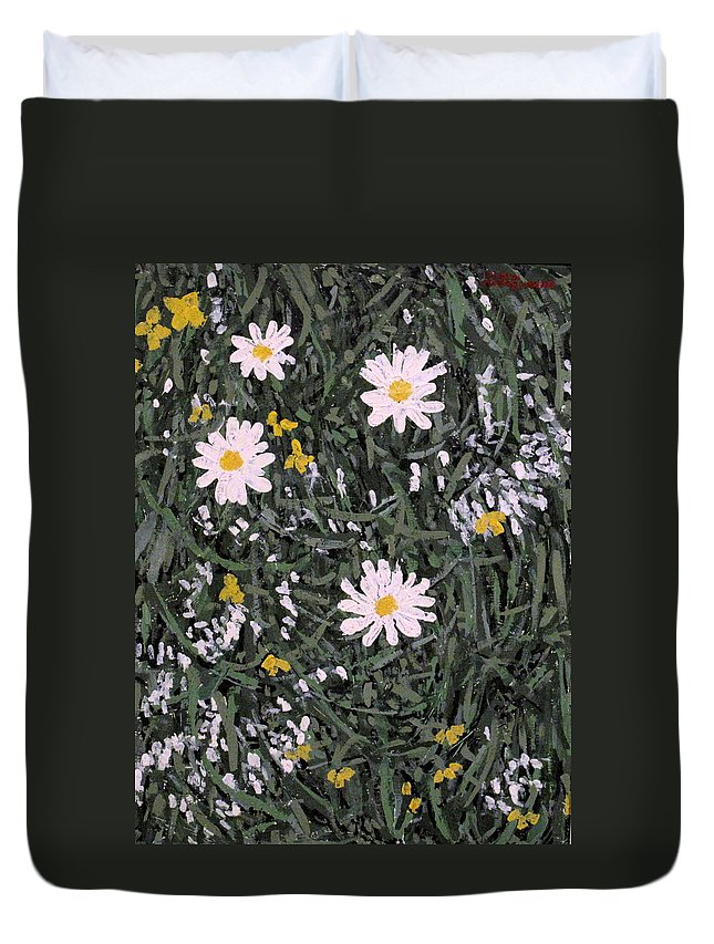 Daisies Duvet Cover featuring the painting Field Daisies by Ian MacDonald