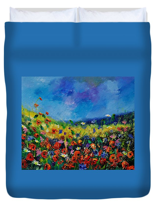 Landscape Duvet Cover featuring the painting Field Flowers 561190 by Pol Ledent