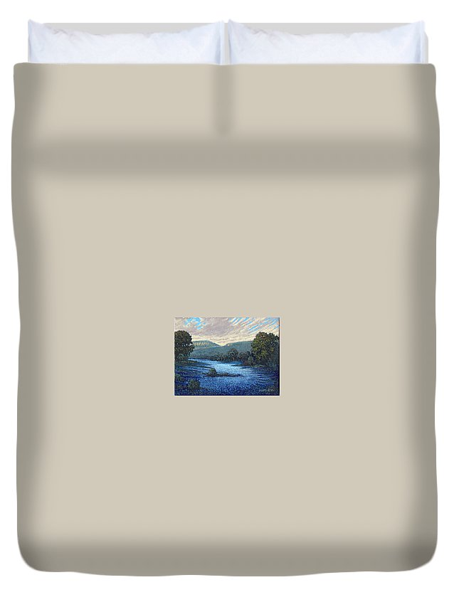 Landscape Duvet Cover featuring the painting Field Of Bluebonnets by Jim Bob Swafford