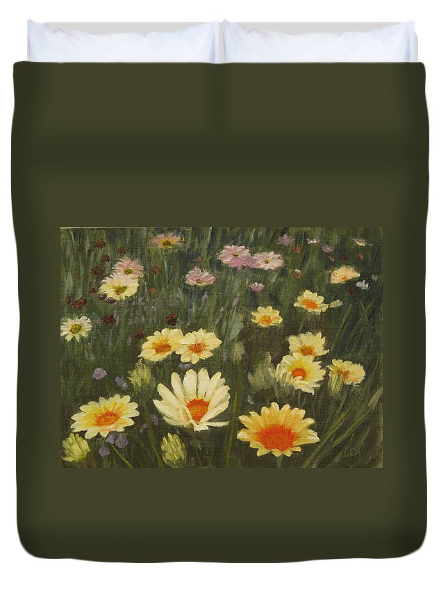 Flower Duvet Cover featuring the painting Field of Flowers by Lea Novak