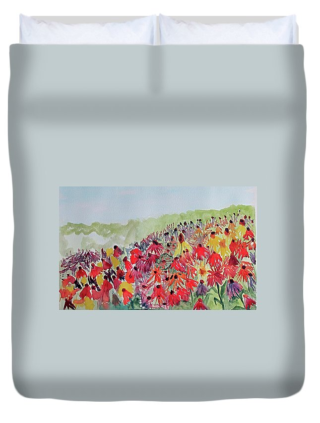 Flower Duvet Cover featuring the painting Field Of Flowers by Sandy McIntire