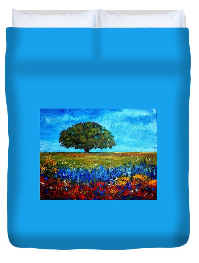 Landscape Duvet Cover featuring the painting Field of Flowers by Tami Booher