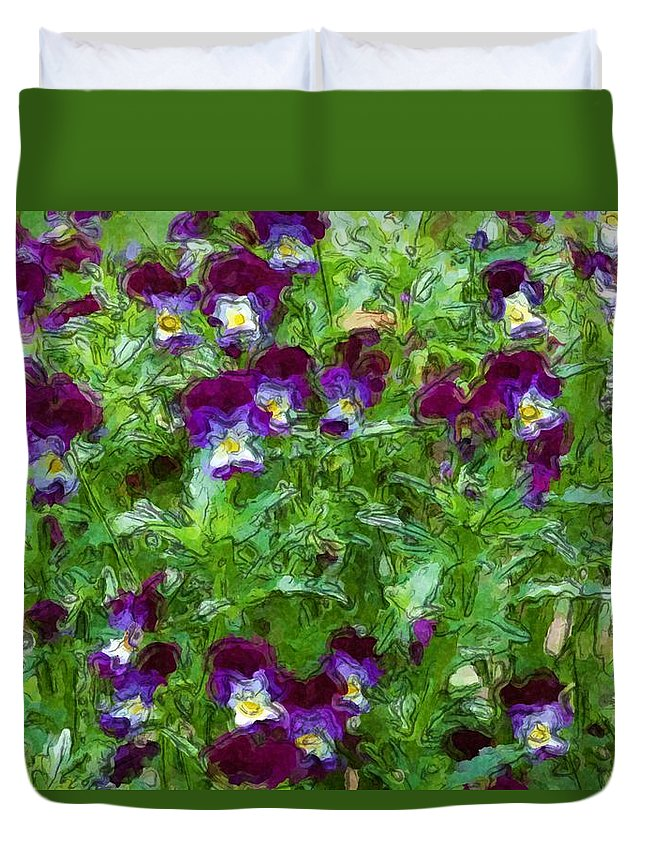 Digital Photograph Duvet Cover featuring the photograph Field Of Pansy's by David Lane
