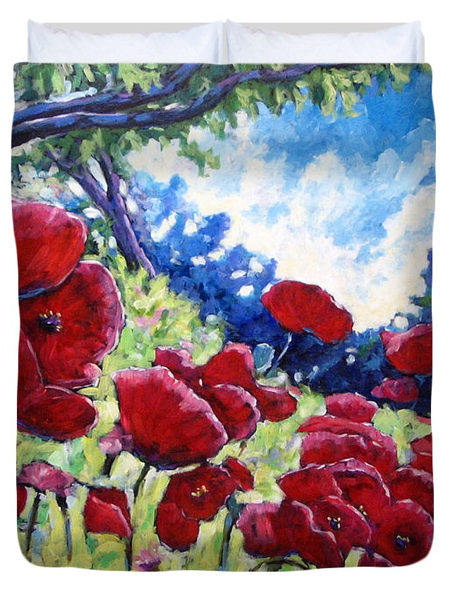 Poppies Duvet Cover featuring the painting Field Of Poppies 02 by Richard T Pranke